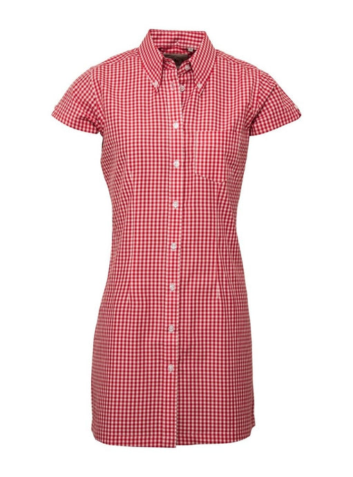 Gingham Red Long Dress Shirt - GIAN LONDON