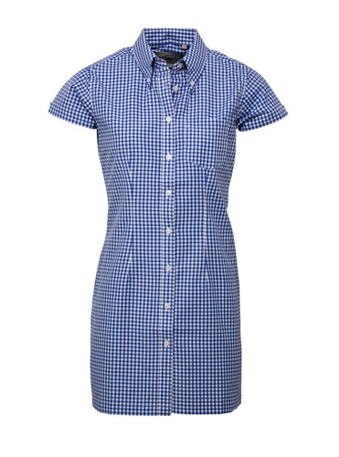 Gingham Blue Long Dress Shirt - GIAN LONDON
