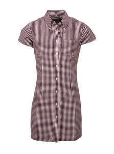 Gingham Burgundy Long Dress Shirt - GIAN LONDON