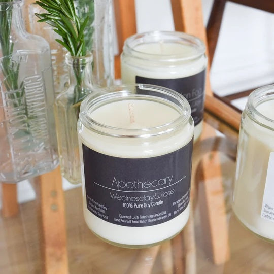 Apothecary Wednesday & Rose Pure Soy Candle - Lemon Water Wellness