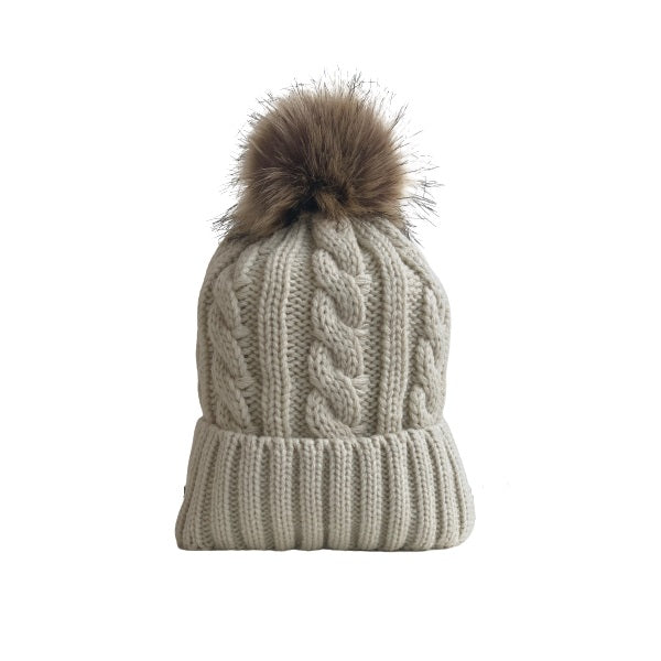 Cable Knitted Hat W/ Removable Pom Pom (Plush Inside) / Beige