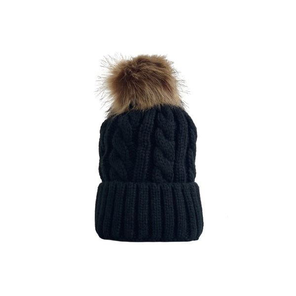 Cable Knitted Hat W/ Removable Pom Pom (Plush Inside) / Black