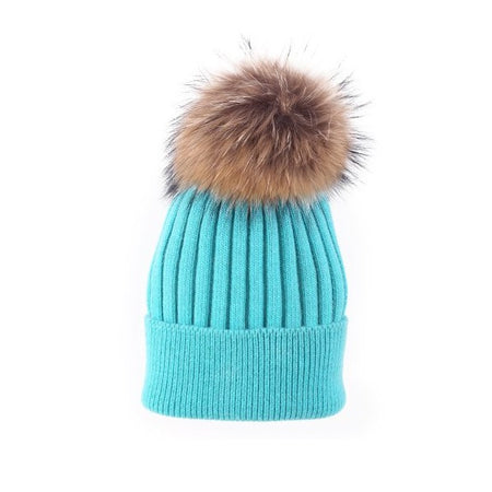 Angora Blend Toque with detachable Pompom - Aqua