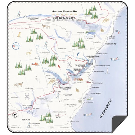 Southern Georgian Bay Escarpment Map Blanket - Lemon Water Wellness