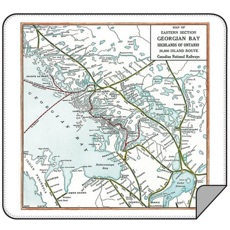 Vintage Georgian Bay Map Blanket - Lemon Water Wellness