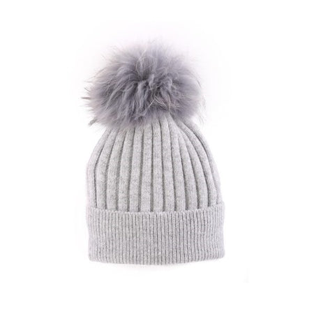 Cashmere Blend Toque with detachable Pompom - Light Grey