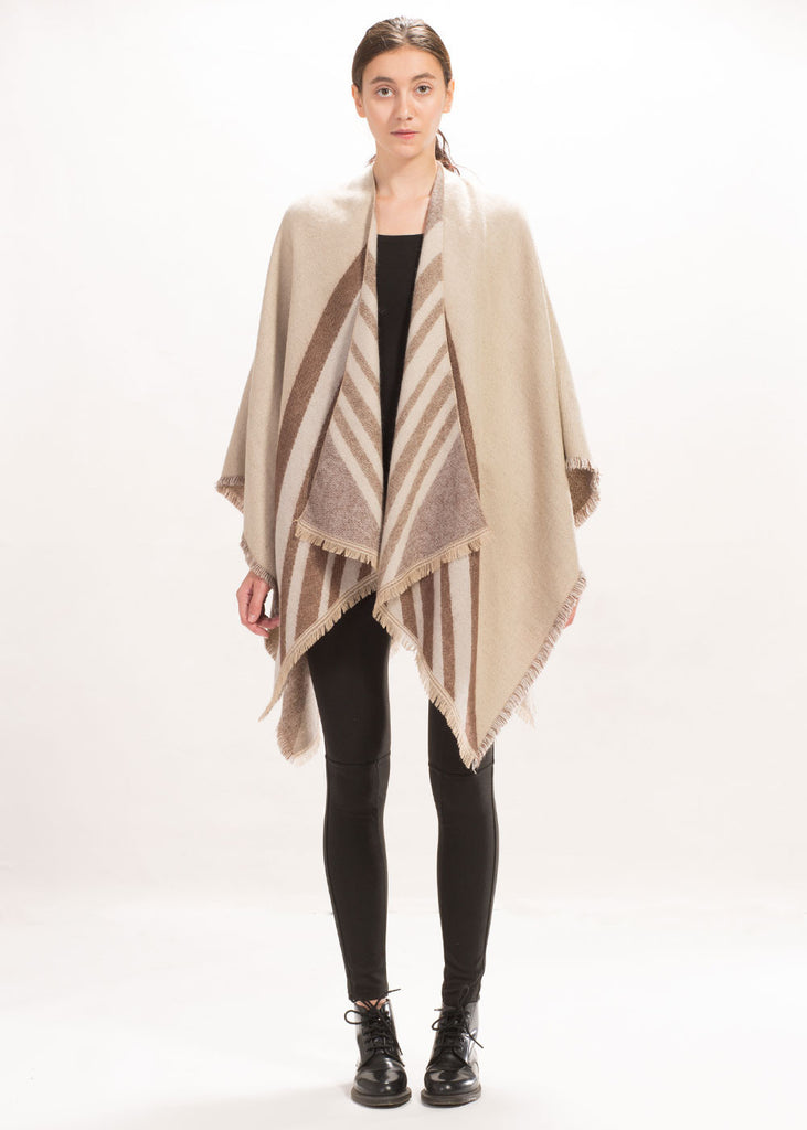 Point Stripe Blanket Poncho