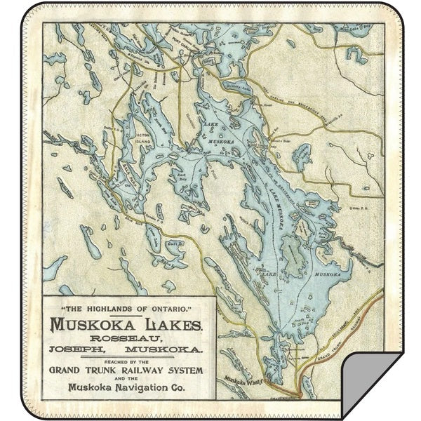 Vintage Lake Muskoka Map Blanket - Lemon Water Wellness
