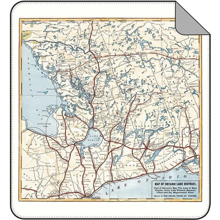 Vintage Lake Ontario District Map Blanket - Lemon Water Wellness