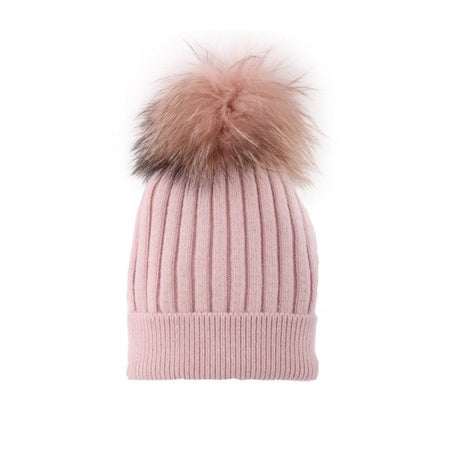 Cashmere Blend Toque with detachable Pompom - Light Pink