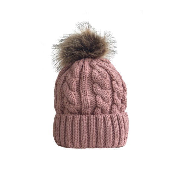 Cable Knitted Hat W/ Removable Pom Pom (Plush Inside) / Pink