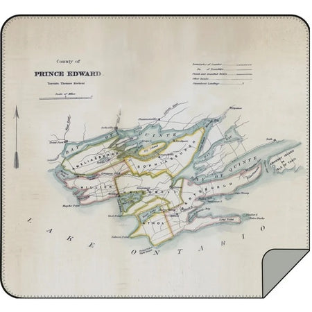 Vintage Prince Edward County Map Blanket - Lemon Water Wellness