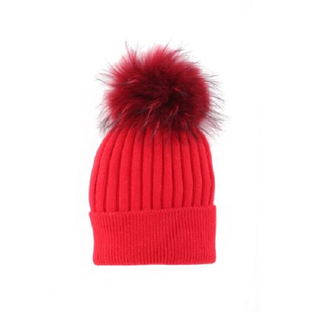 Angora Blend Toque with detachable Pompom - Red