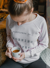 Women's Happiness is Coffee Crew Sweatshirt, Charcoal & Ballet Pink - Lemon Water Wellness