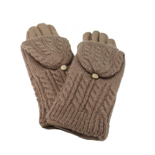 Cable Knit Vertical Touch Screen Glove - Beige