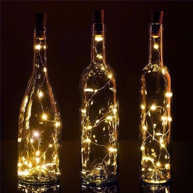 Wine bottle, cork shaped LED lights