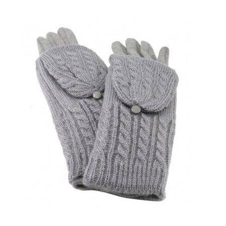 Cable Knit Vertical Touch Screen Glove - Grey