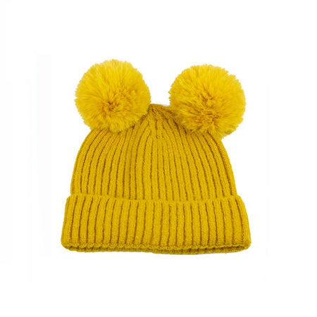 Winter Toque with double pompoms - Mustard