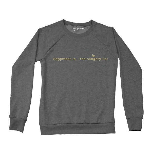 Women's Naughty List Crew Sweatshirt, Charcoal with Gold