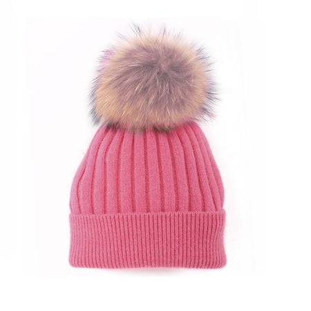 Angora Blend Toque with detachable Pompom - Pink