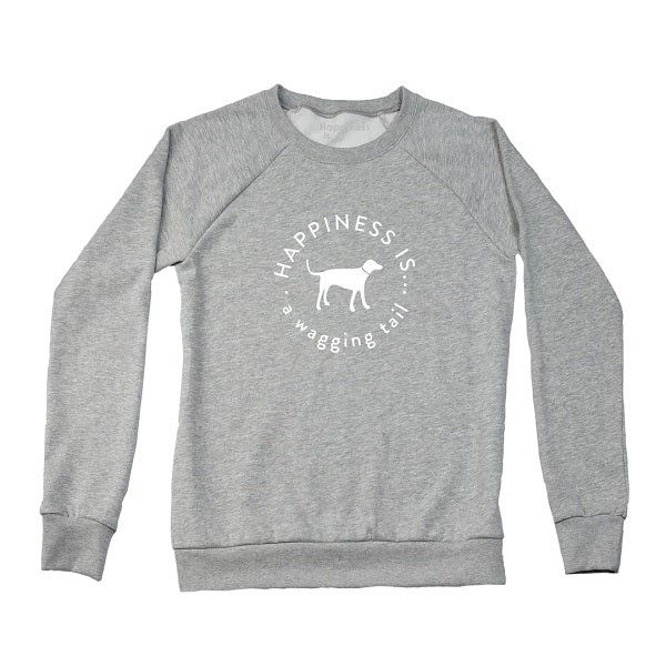 Women's Wagging Tail Crew Sweatshirt, Heather Grey