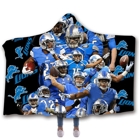 DETROIT LIONS CLASSIC 3D HOODED BLANKET