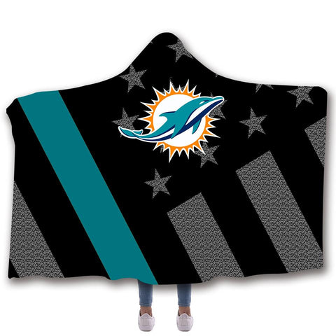 MIAMI DOLPHINS CLASSIC 3D HOODED BLANKET