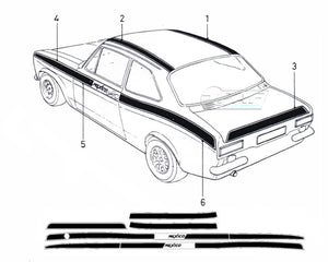 Kit Autocollants Bandes Laterales Ford Escort MK1 Mexico
