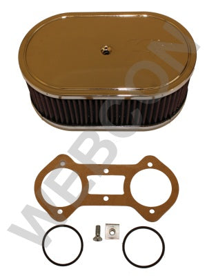 Filtre à air chrome oval 152mm Carburateur WEBER 48IDA