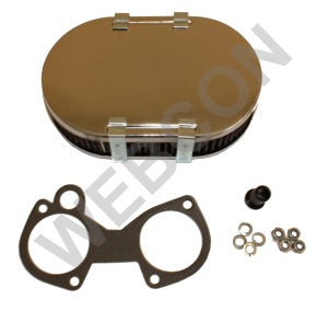 Filtre à air chrome oval 45mm Carburateur WEBER DCOE