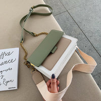 Leather Crossbody Green Chain Shoulder Messenger Bag