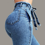 High Waisted Stretchy Denim Jeans