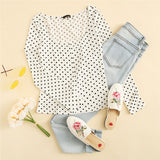 White Polka Dot Print Square Neck Casual T-Shirt