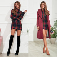 Elegant plaid Long Sleeve Stand collar dress