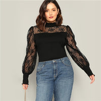 Plus Size Casual Contrast Floral Lace Top