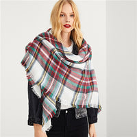 Multicolor Frayed Trim Plaid Scarf