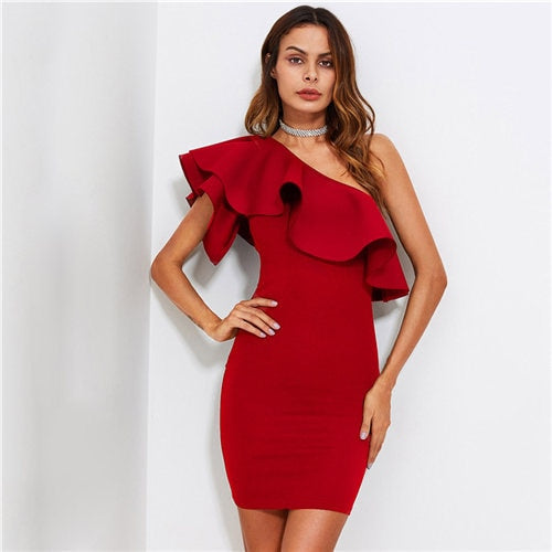 Red Ruffle Flounce One Shoulder Form Fitting Bodycon Dress