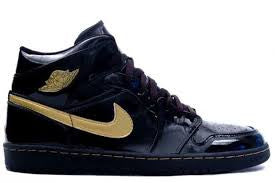 GIRLS AIR JORDAN RETRO 1 PHAT BLACK GOLD GS