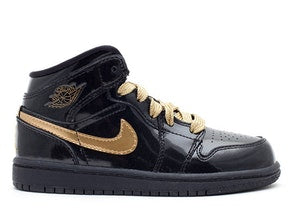GIRLS AIR JORDAN RETRO 1 PHAT BLACK GOLD PRESCHOOL PS