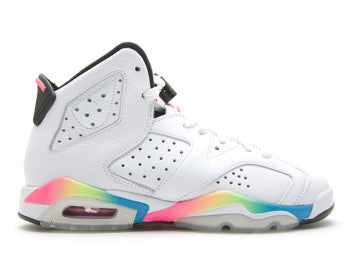 GIRLS JORDAN RETRO 6 WHITE RAINBOW PRESCHOOL PS