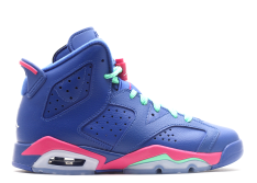 GIRLS AIR JORDAN RETRO 6 BLUE RAINBOW GS