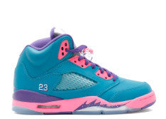 GIRLS JORDAN RETRO 5 SOUTH BEACH TROPICAL TEAL PINK PRESCHOOL PS