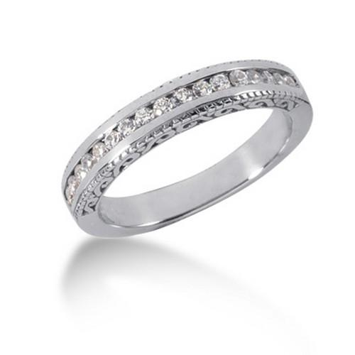 14k White Gold Vintage Style Engraved Diamond Channel Set Wedding Ring Band, size 6