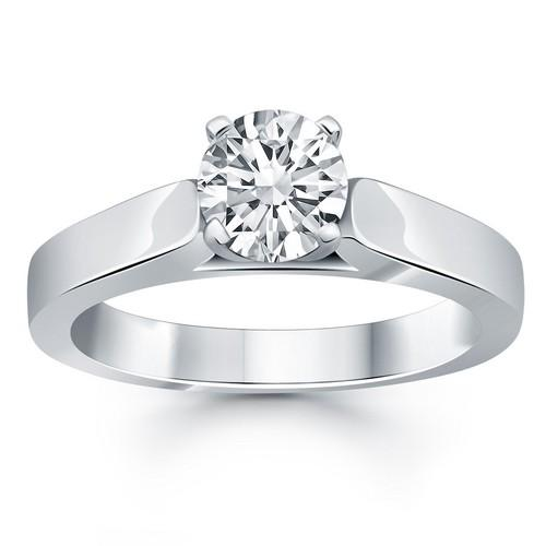 14k White Gold Wide Cathedral Solitaire Engagement Ring, size 9