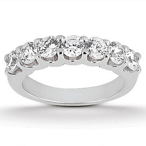 14k White Gold Diamond Scalloped Shared U Prong Setting Wedding Ring Band, size 8.5