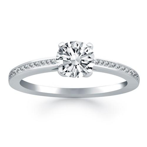 14k White Gold Channel Set Cathedral Engagement Ring, size 5.5
