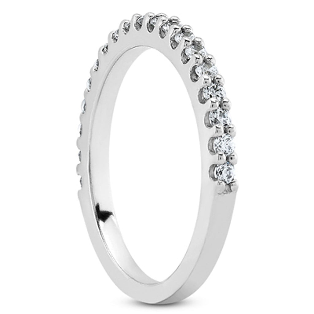14k White Gold Shared Prong Diamond Wedding Ring Band with U Settings, size 5