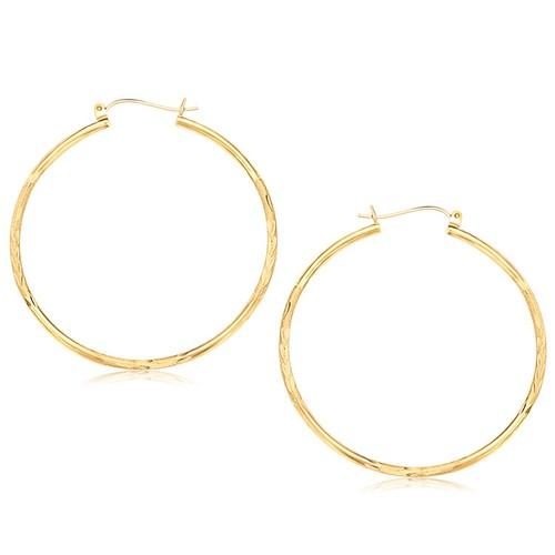 14k Yellow Gold Fancy Diamond Cut Extra Large Hoop Earrings (45mm Diameter)