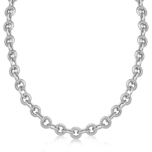 Sterling Silver Round Cable Inspired Chain Link Necklace, size 24''