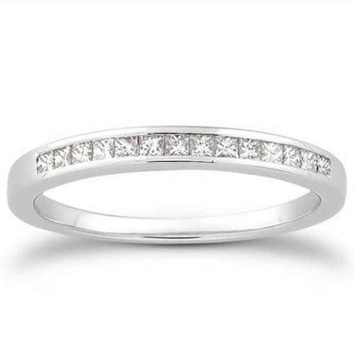 14k White Gold Channel Set Princess Diamond Wedding Ring Band, size 7.5